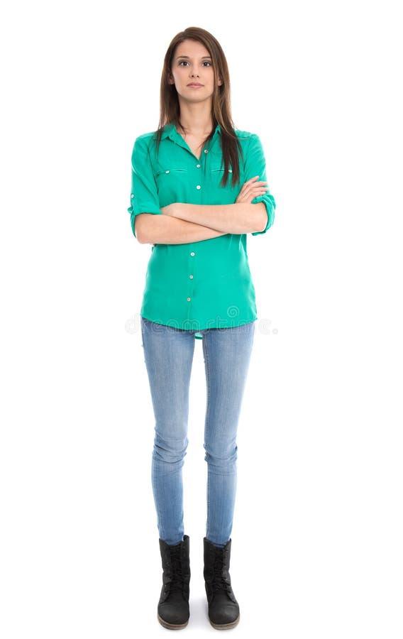Giovane donna isolata in blue jeans in integrale. immagini stock