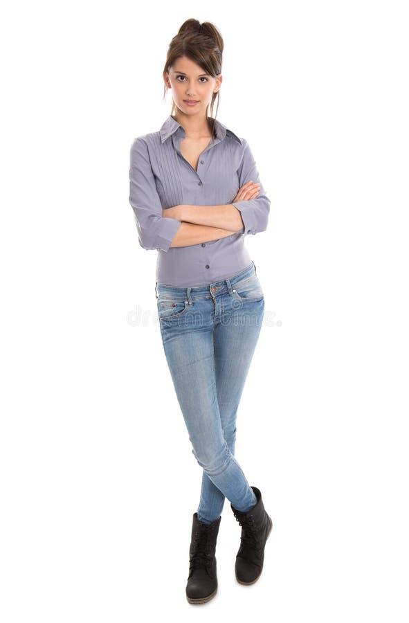 Giovane donna isolata nella statura completa. immagine stock libera da diritti
