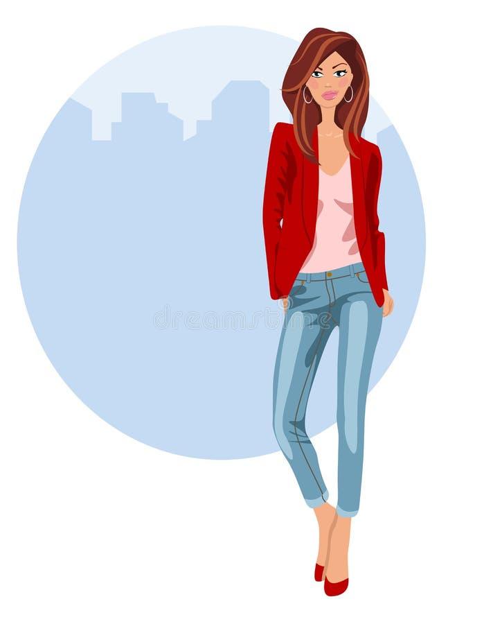 Giovane donna in jeans e talloni illustrazione di stock