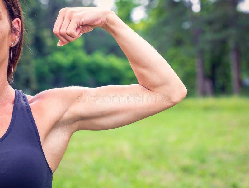 Giovane donna muscolare adatta - forte culturista fotografie stock libere da diritti