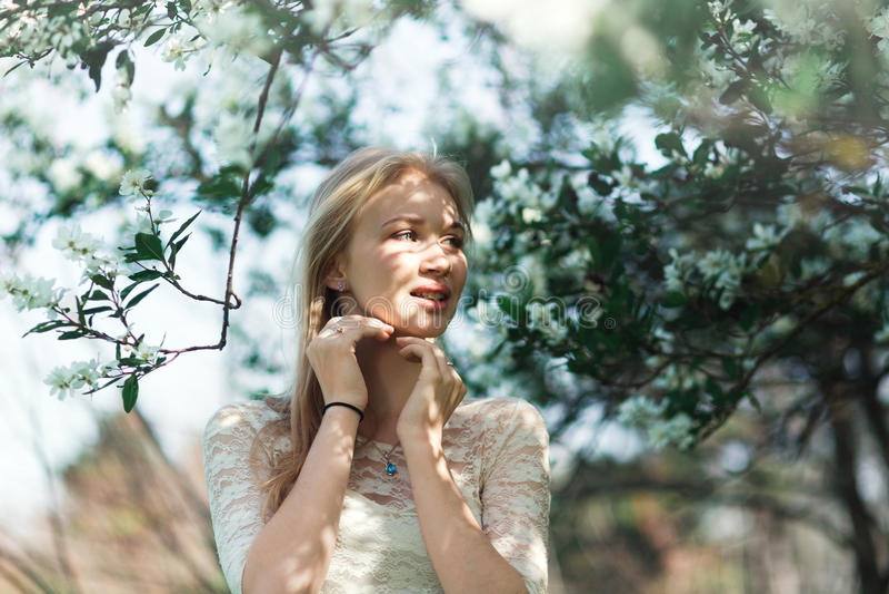Giovane donna nel giardino di primavera Bella ragazza bionda con i rami sboccianti di Apple della tenuta fotografia stock libera da diritti