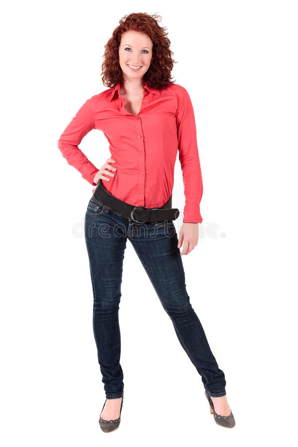 Giovane donna red-haired attraente fotografia stock libera da diritti