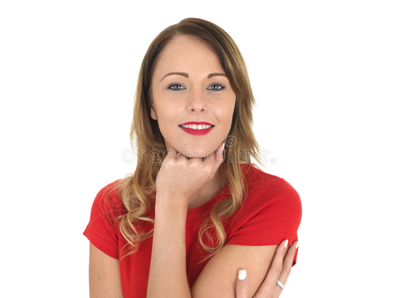 Giovane donna rilassata sorridente felice attraente immagine stock libera da diritti