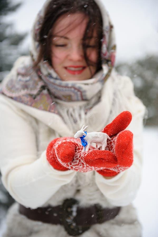 Giovane donna russa nel parco di inverno immagine stock libera da diritti