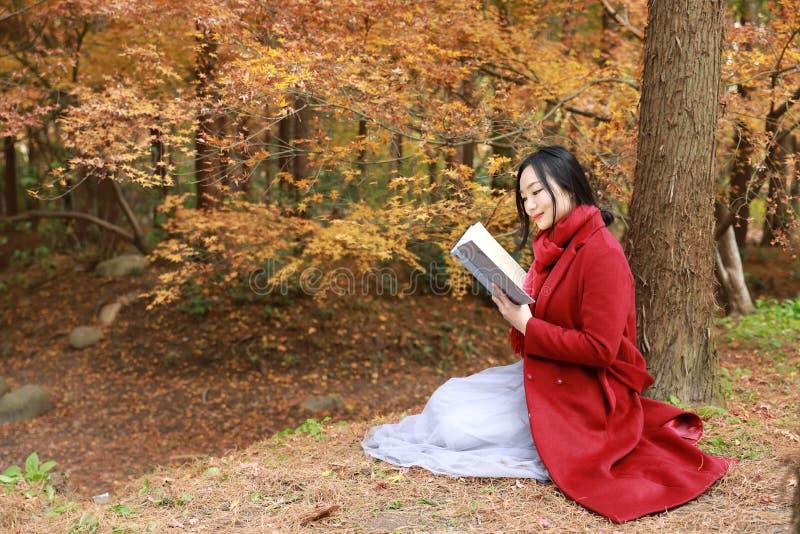 Giovane donna sensuale asiatica che legge un libro nel paesaggio romantico di autunno Ritratto della ragazza graziosa in foresta  fotografie stock libere da diritti
