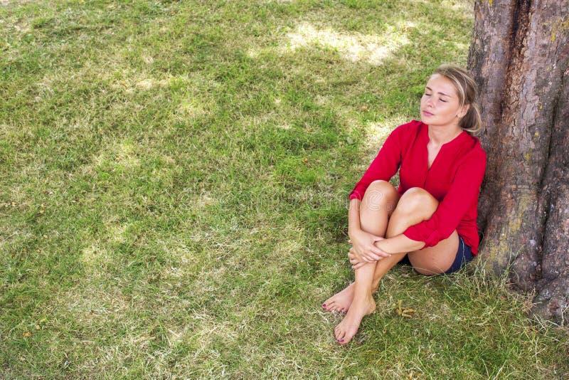 Giovane donna serena che gode della freschezza di estate sotto un albero fotografia stock