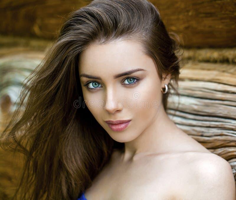 Giovane donna sexy, contro lo sfondo del bordo di legno anziano immagine stock libera da diritti