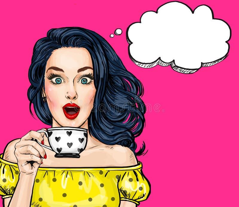 Giovane donna sexy sorpresa con la bocca aperta con la tazza Donna comica Donne stupite illustrazione vettoriale