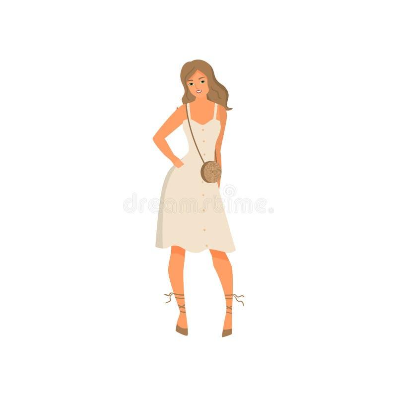 Giovane donna sexy sveglia in vestito elegante bianco royalty illustrazione gratis