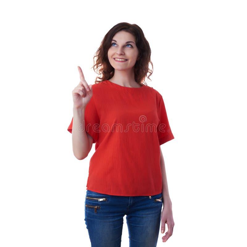 Giovane donna sorridente sopra fondo isolato bianco fotografia stock
