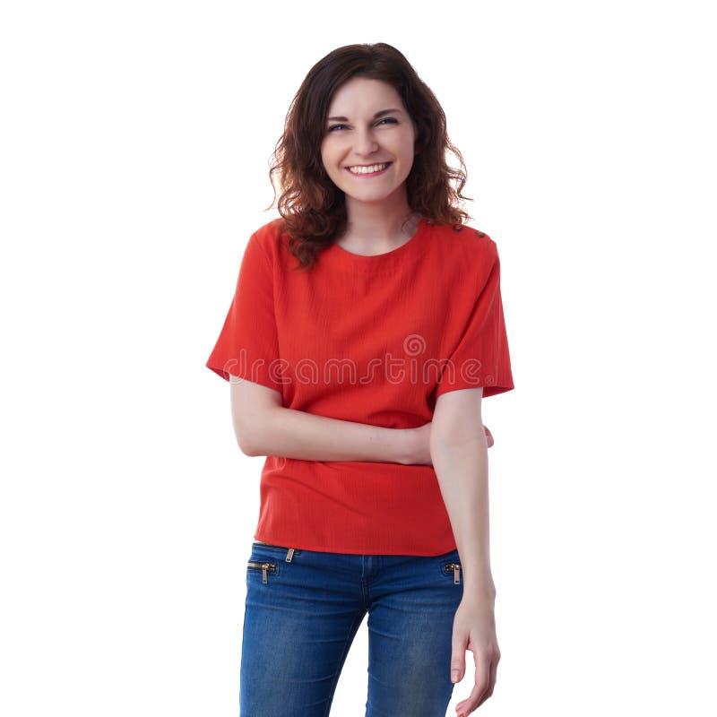 Giovane donna sorridente sopra fondo isolato bianco fotografie stock