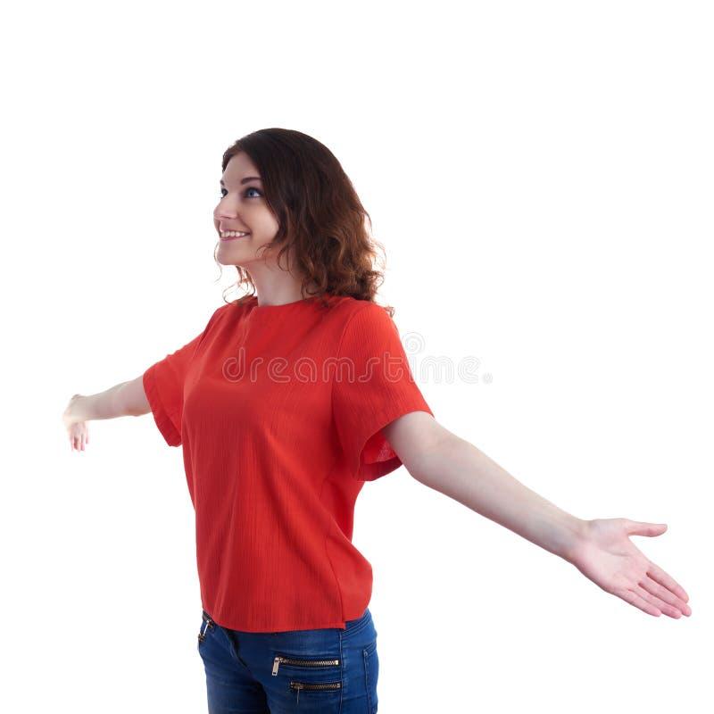Giovane donna sorridente sopra fondo isolato bianco fotografie stock libere da diritti