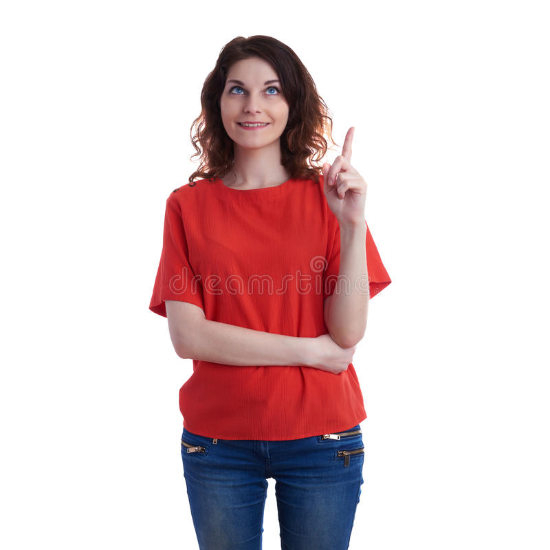 Giovane donna sorridente sopra fondo isolato bianco immagine stock