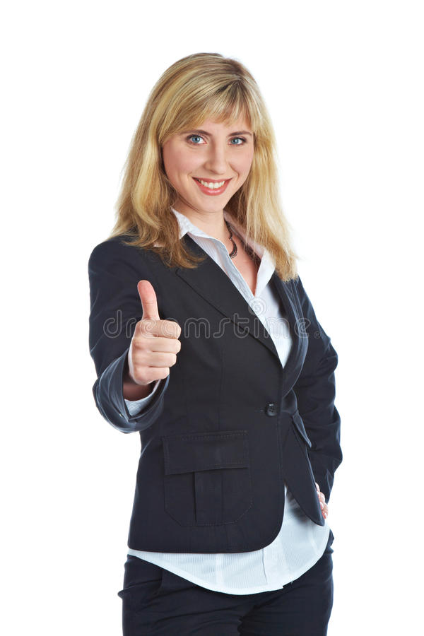 Giovane donna sorridente in un vestito di affari immagini stock