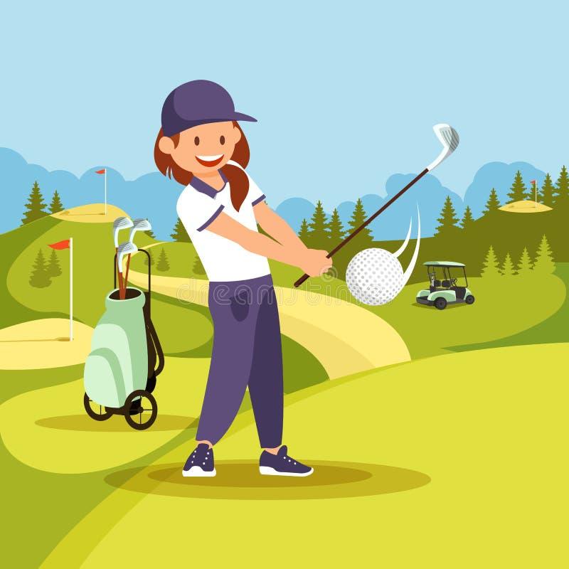 Giovane donna sorridente in uniforme di sport che gioca golf illustrazione di stock