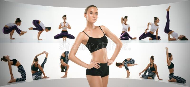 Giovane donna sportiva che fa pratica di yoga, collage creativo immagine stock