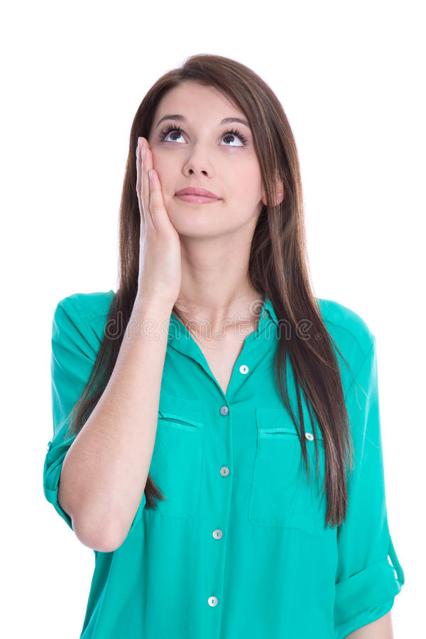 Giovane donna stupita in blusa verde isolata su bianco. fotografia stock libera da diritti