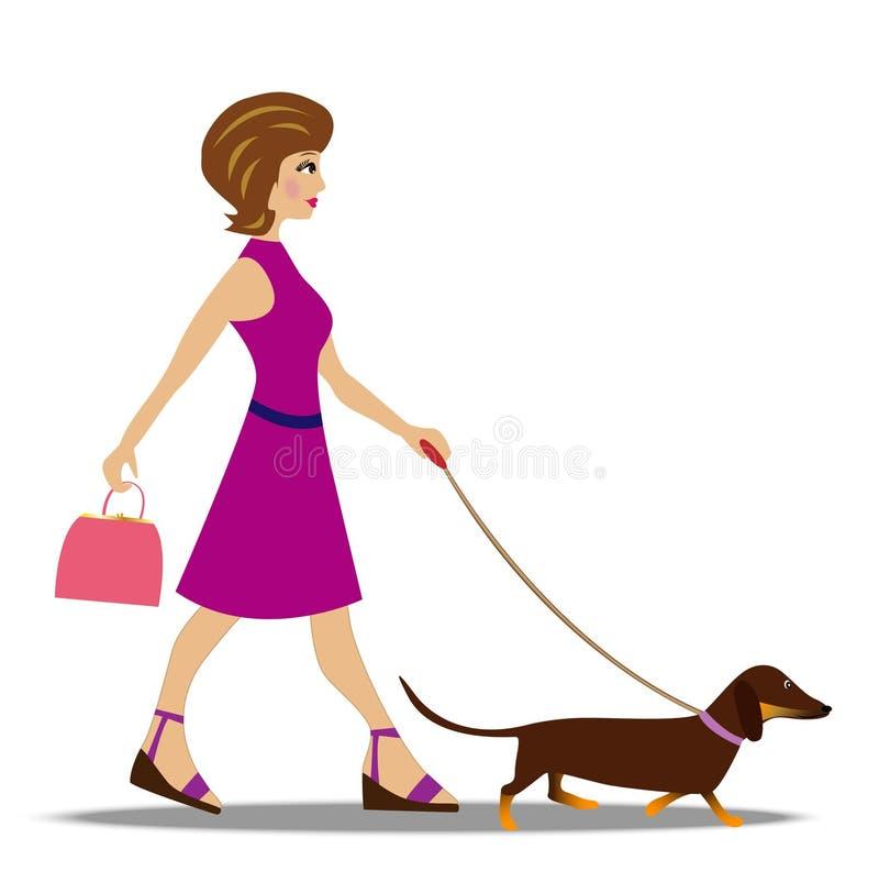Giovane donna sulla passeggiata con il cane illustrazione vettoriale