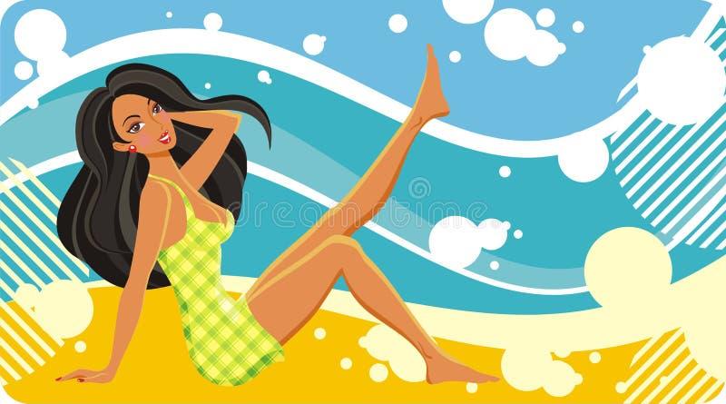 Giovane donna sulla spiaggia fotografia stock libera da diritti