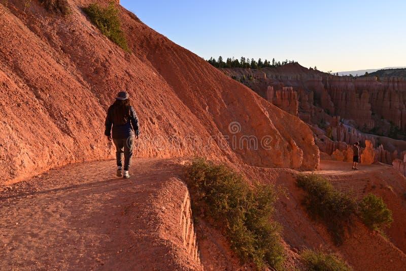Giovane donna sulla traccia navajo del ciclo in Bryce Canyon fotografia stock
