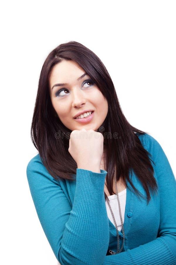 Giovane donna sveglia creativa e pensive immagini stock libere da diritti