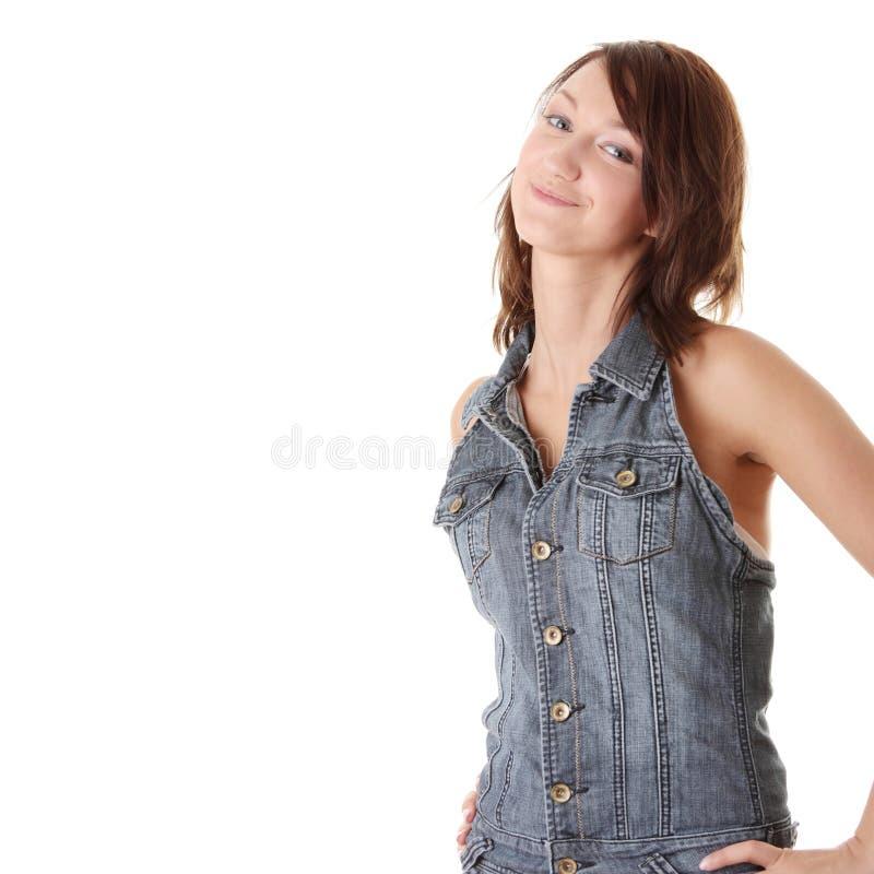 Giovane donna in vestiti casuali immagini stock