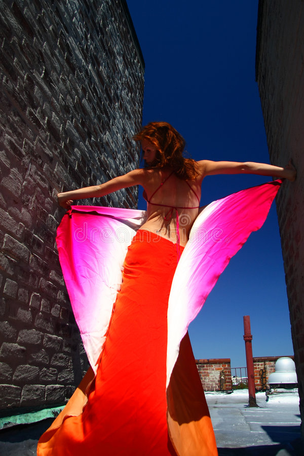 Giovane donna in vestito luminoso su un tetto della città fotografie stock libere da diritti