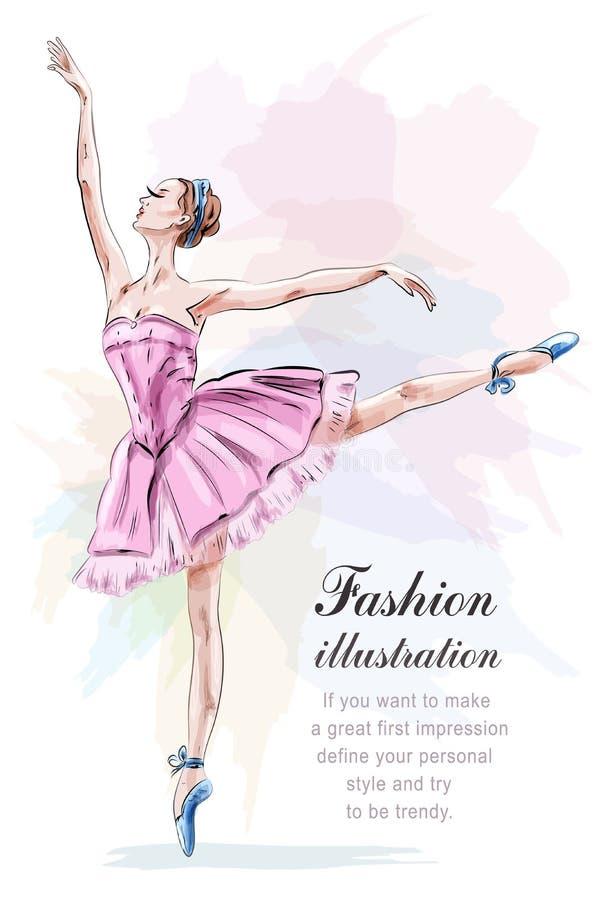 Giovane e bella ballerina che posa e che balla in vestito da rosa di modo illustrazione vettoriale