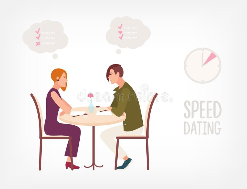 Giovane e donna che si siedono alla tavola, esaminandosi reciprocamente e conversazione Personaggi dei cartoni animati e controll royalty illustrazione gratis