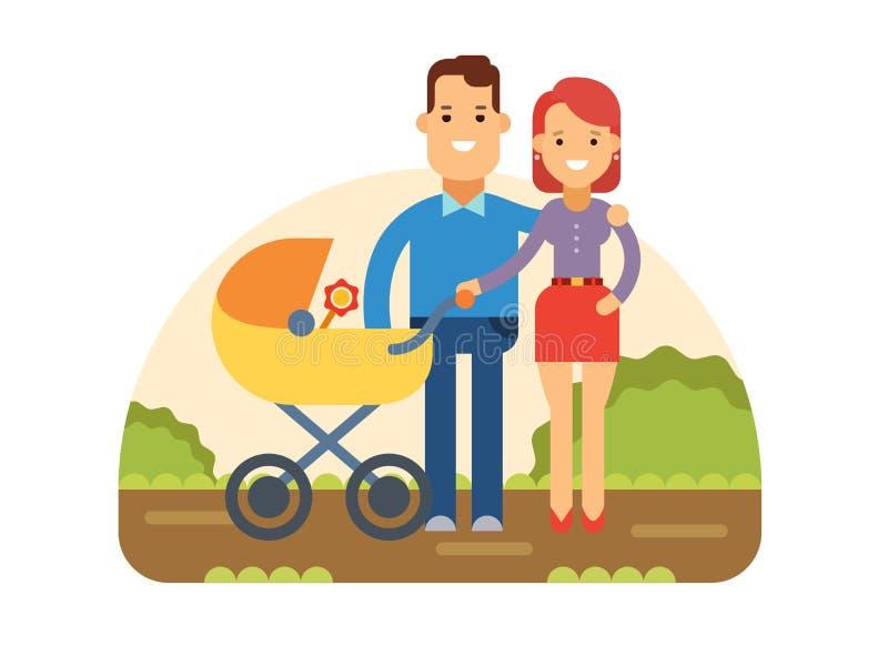 Giovane famiglia felice con il bambino in passeggiatore illustrazione vettoriale