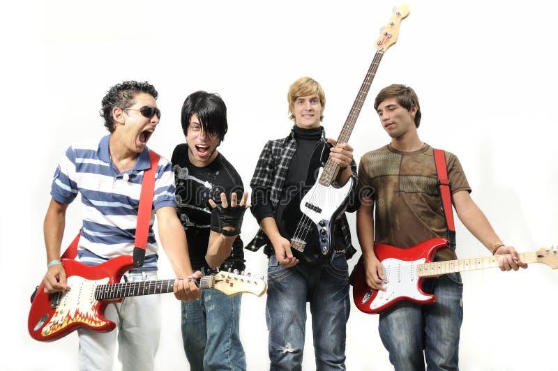 Giovane fascia musicale isolata su bianco immagini stock libere da diritti