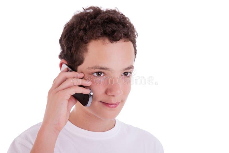 Giovane felice sul telefono immagine stock