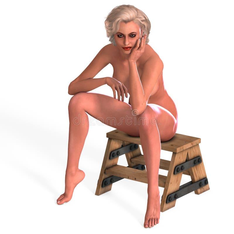 Giovane femmina nuda attraente in un pinup classico illustrazione di stock