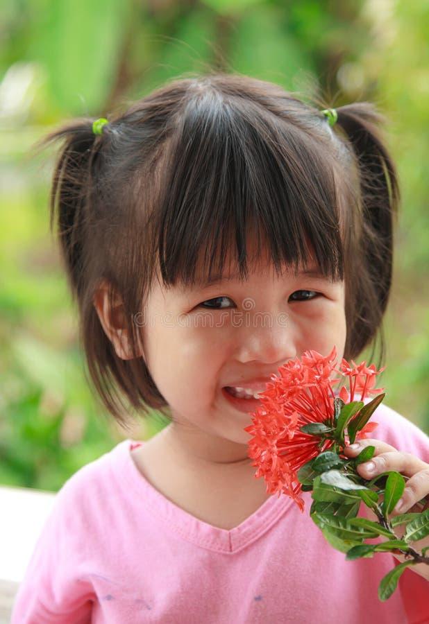 Giovane fiore asiatico felice dell'odore della ragazza fotografia stock libera da diritti