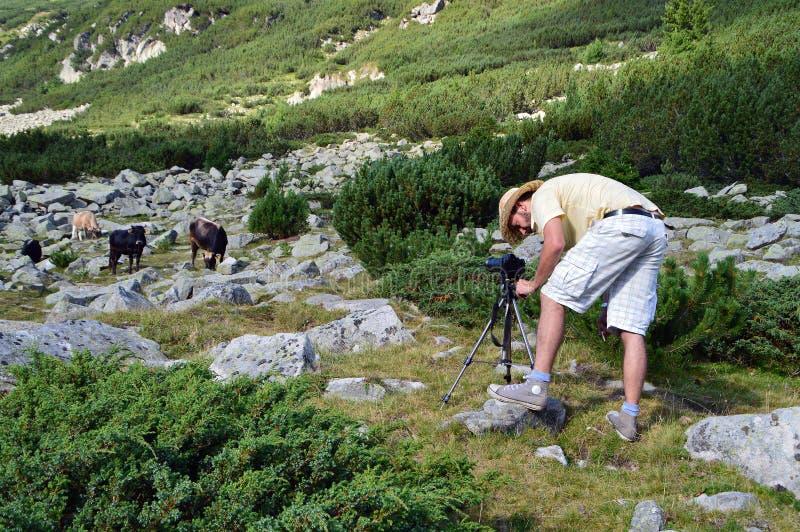 Giovane fotografo in montagna immagini stock libere da diritti