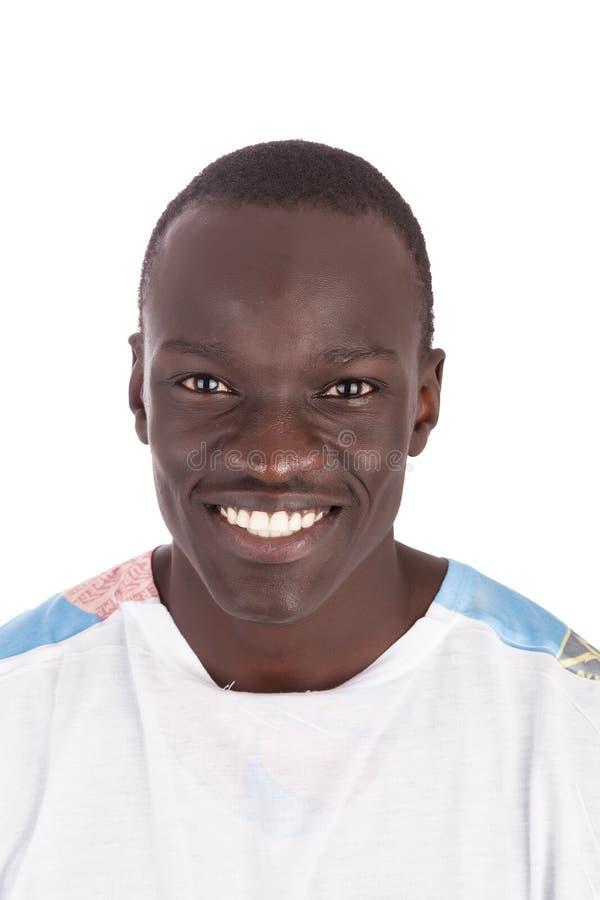 Giovane fronte sudanese bello dell'uomo alla macchina fotografica immagine stock