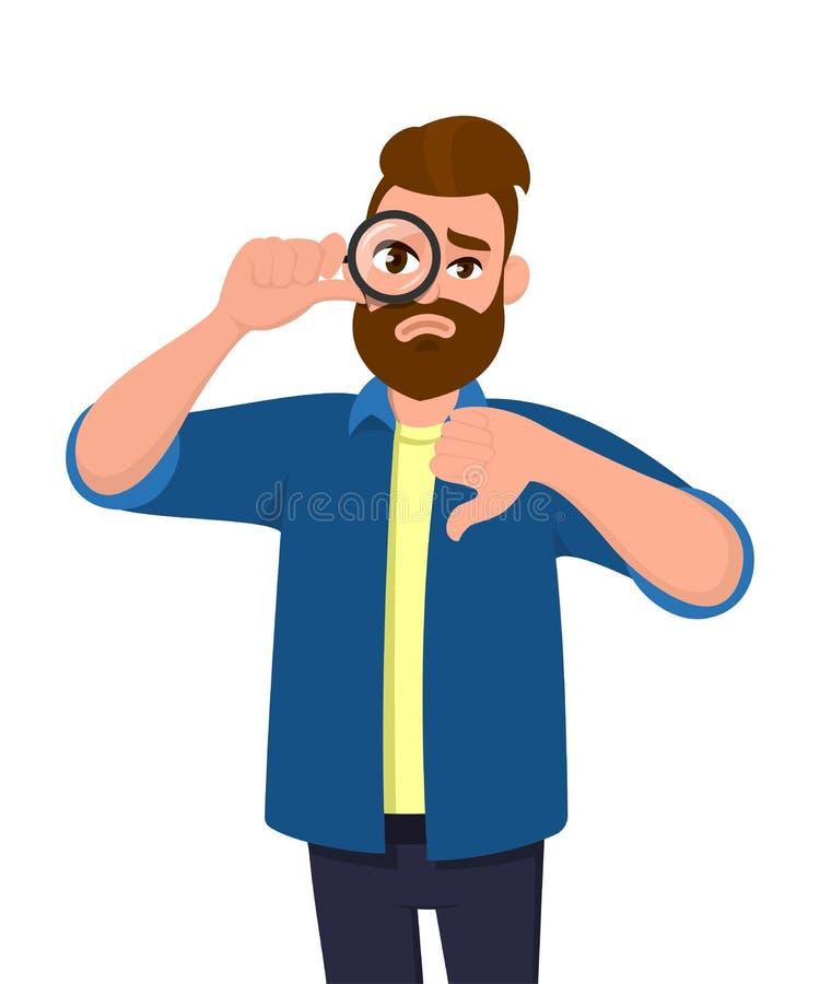 Giovane Frustrato che guarda attraverso la lente di ingrandimento e mostra il gesto dei pollici in alto Persona infelice di tende illustrazione di stock