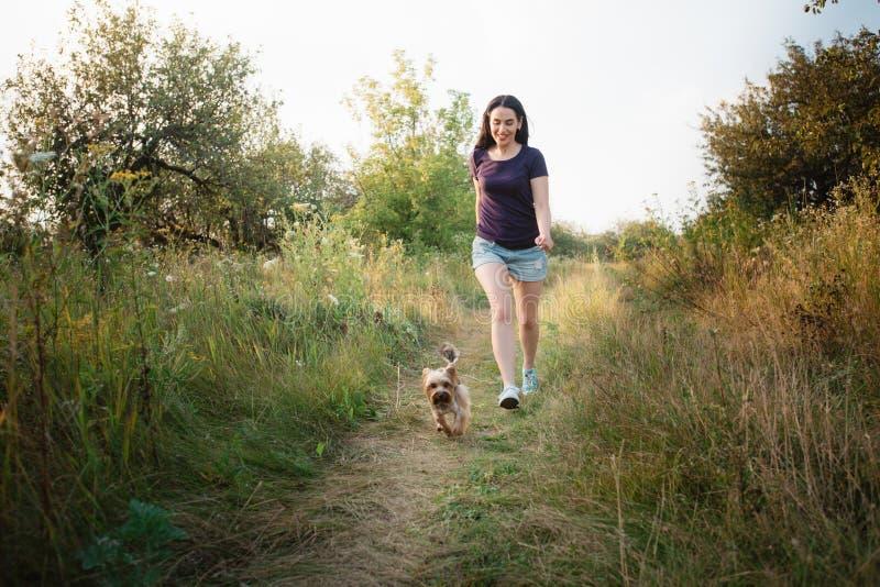Giovane funzionamento attraente della ragazza di sport con il cane in parco fotografia stock libera da diritti