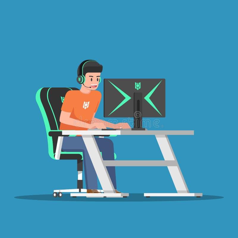 Giovane gamer che gioca gioco sul desktop computer con l'ingranaggio di gioco royalty illustrazione gratis