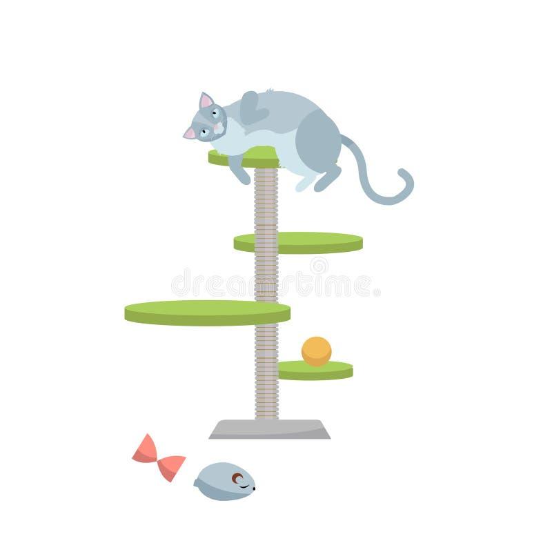 Giovane gatto grigio sveglio che si trova sul graffio della posta con i giocattoli del gatto Illustrazione piana del carattere di illustrazione vettoriale