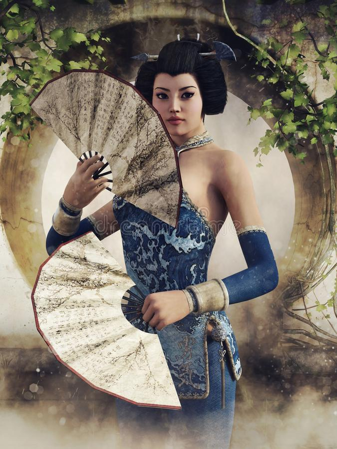 Giovane geisha con i fan variopinti illustrazione vettoriale