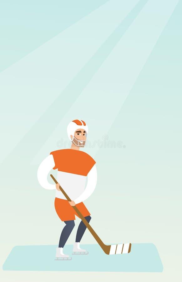 Giovane giocatore di hockey su ghiaccio caucasico illustrazione di stock