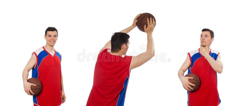 Giovane giocatore di pallacanestro isolato su bianco fotografie stock