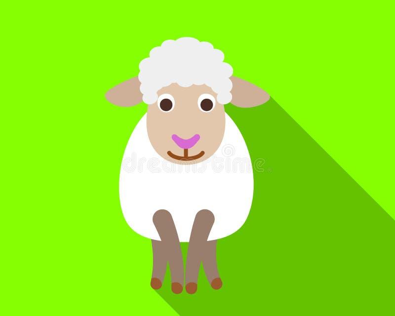 Giovane icona delle pecore, stile piano illustrazione di stock