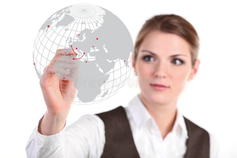 Giovane illustrazione della donna di affari sul vetro immagine stock