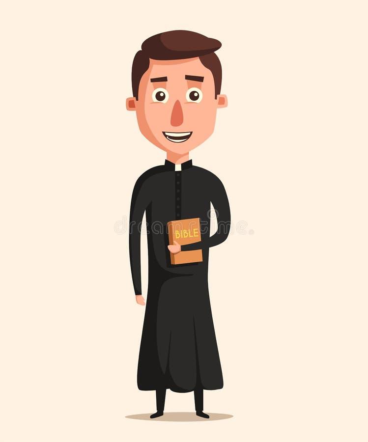 Giovane illustrazione di vettore di Cartoon del prete cattolico illustrazione vettoriale
