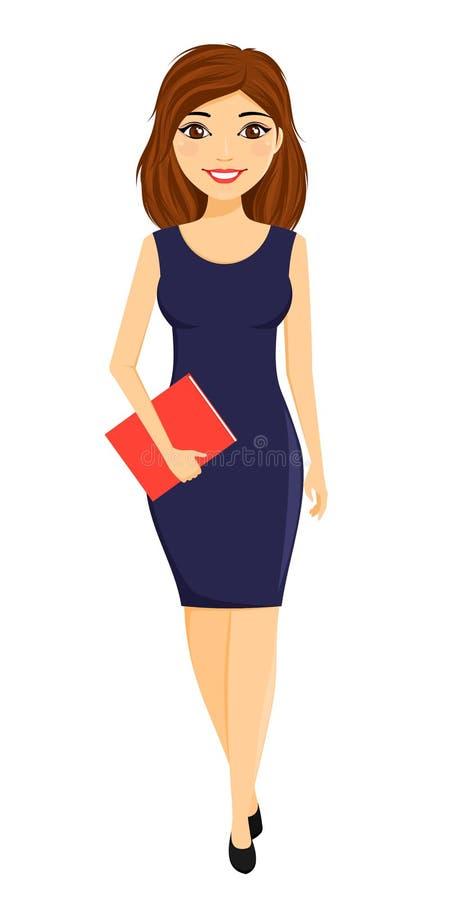 Giovane impiegato attraente della ragazza dell'ufficio Una ragazza in un vestito blu rigoroso Commercio e finanze royalty illustrazione gratis