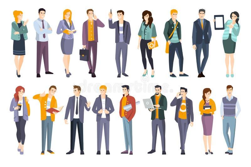 Giovane insieme sicuro professionale della gente Uomo e donne che indossano le illustrazioni piane di codice di abbigliamento del illustrazione di stock
