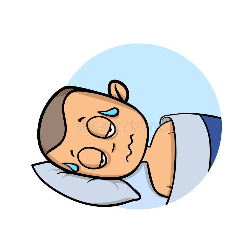 Giovane inzuppato in sudore che si trova nel suo letto Icona di progettazione del fumetto Illustrazione piana di vettore Isolato  royalty illustrazione gratis