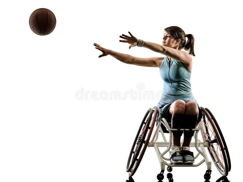 Giovane iso handicappato di sport della sedia a rotelle della donna del giocatore della palla del canestro fotografia stock libera da diritti